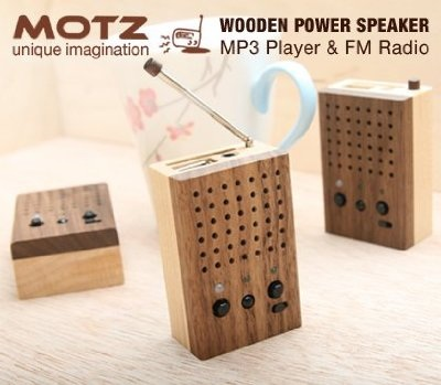 Motz Tiny Wooden Power Speaker with MP3 player and FM Radio