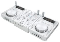 Pioneer CDJ-350-W digital media players and a DJM-350-W 2-channel mixer come in White