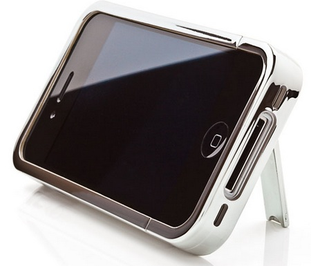 iKit iPhone 4 Chrome Flip Case with stand silver
