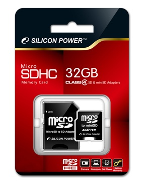 Silicon Power 32GB Class 4 microSDHC Memory Card