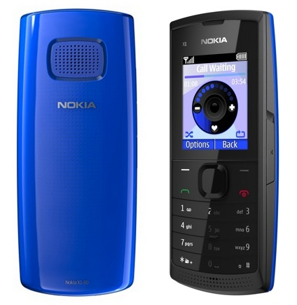 Nokia X1-00 Budget Music Phone with a Large Speaker blue