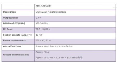 Sony XDR-C706DBP FM DAB+ clock radio specs