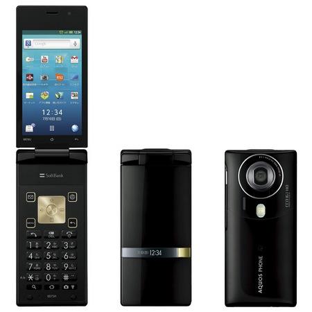 Softbank Sharp 007SH AQUOS PHONE THE HYBRID Clamshell runs Android black