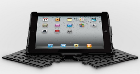 Logitech Fold-Up Keyboard for iPad 2 front unfolding
