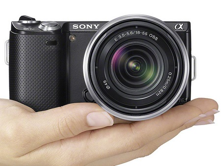 Sony NEX-5N Compact Interchangeable Lens Camera on hand