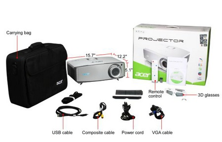 Acer H9500BD Full HD 3D Projector items included