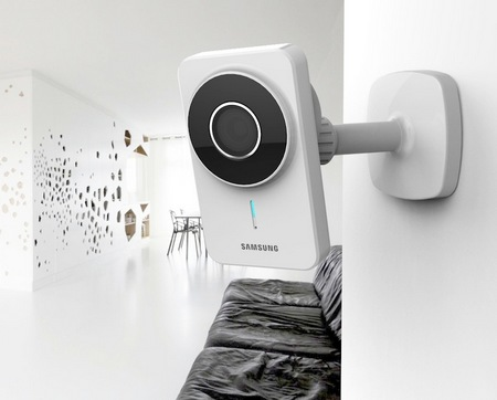 Samsung SmartCam WiFi IP Camera for Real-time Surveillance mounted