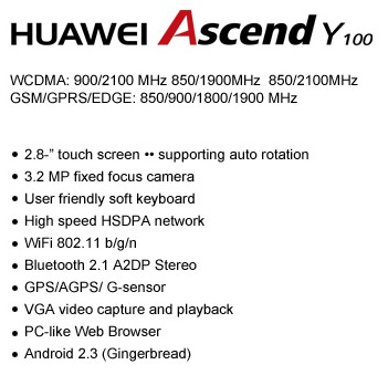 Huawei Ascend Y100 Entry-level Android Phone Specs