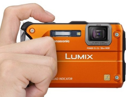 Panasonic LUMIX DMC-TS4 Rugged Camera with GPS orange on hand