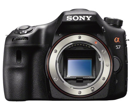 Sony Alpha A57 DSLR Camera with Translucent Mirror front no lens