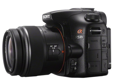 Sony Alpha A57 DSLR Camera with Translucent Mirror side