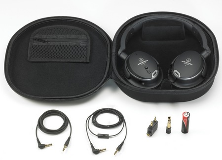 Audio-Technica ATH-ANC9 QuietPoint Active Noise-Cancelling Headphones full set