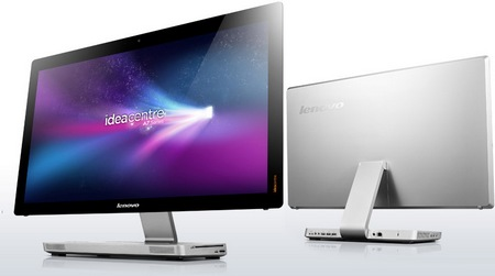 Lenovo IdeaCentre A720 Touchscreen All-in-One PC Folds Flat front back