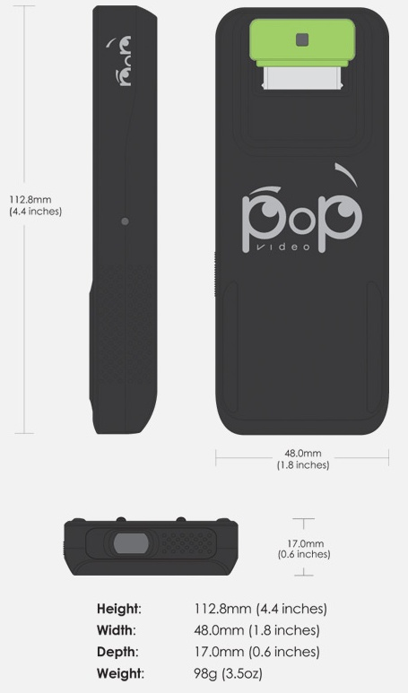 Micron Pop Video iPhone Pico Projector dimension
