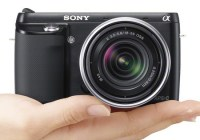 Sony Alpha NEX-F3 Mirrorless Camera on hand