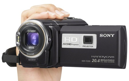 Sony Handycam HDR-PJ580V Full HD Projector Camcorder on hand