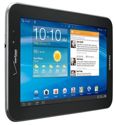 Verizon Samsung Galaxy Tab 7.7 LTE 4G Android Tablet landscape