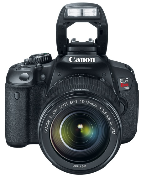 Canon EOS Rebel T4i 650D Digital SLR Camera with EF-S 18-135 flash open