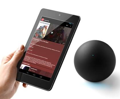 Google Nexus Q Social Streaming Media Player with android tablet