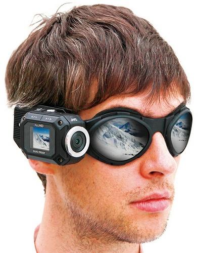 JVC ADIXXION GC-XA1 Quad-proof Rugged Action Camera on goggle