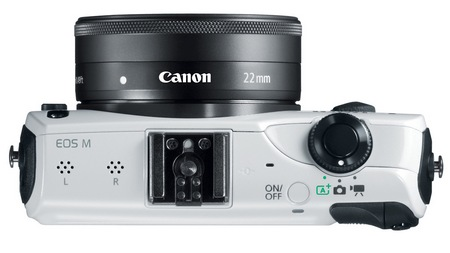 Canon EOS M Mirrorless Interchangeable Lens Camera top white