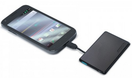 Digipower ChargeCard Credit Card Sized Portable Battery in use