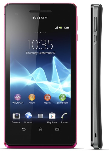 Sony Xperia V Waterproof Smartphone side pink