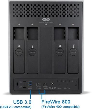LaCie 4big Quadra USB 3.0 multi-bay RAID storage system back