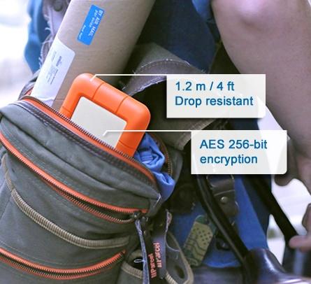 LaCie Rugged USB 3.0 Thunderbolt Series Portable Hard Drive in bag