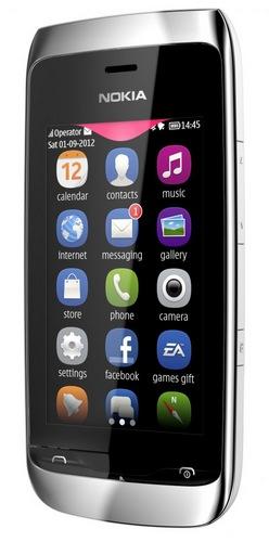 Nokia Asha 309 S40 Touchscreen Phone angle
