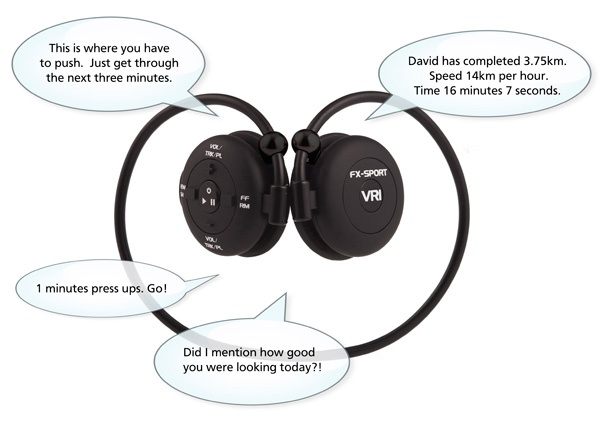 FX-SPORT VR1 Programmable Personal Trainer Wireless Headphones with built-in MP3 Player example