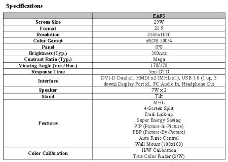 LG EA93 is the World First 21-9 UltraWide Monitor specs