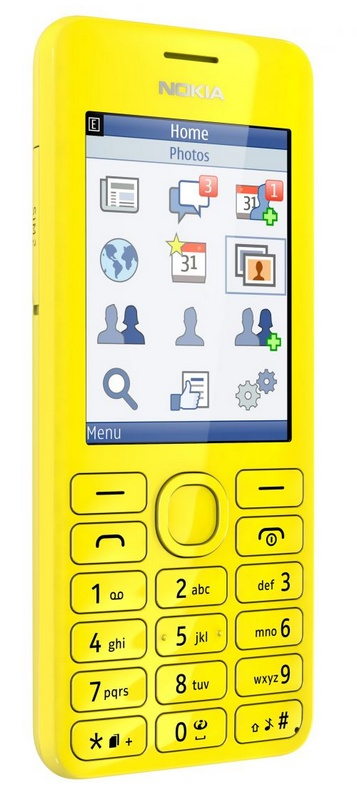 Nokia 206 S40 phone with slam yellow