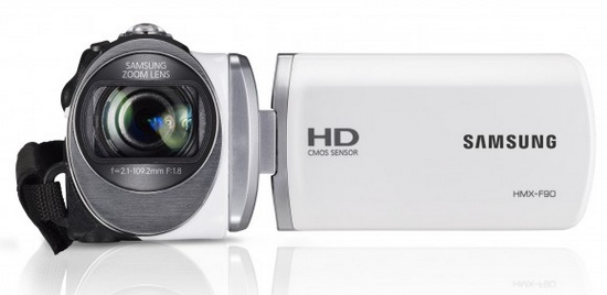 Samsung HMX-F90 720p Camcorder with 52x Optical Zoom front