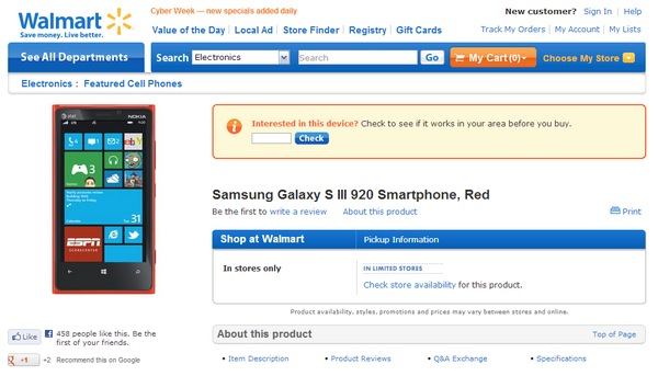 Walmart lists Nokia Lumia 920 as Samsung Galaxy S III 920