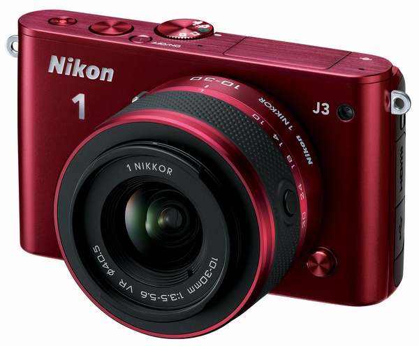 Nikon 1 J3 mirrorless camera red