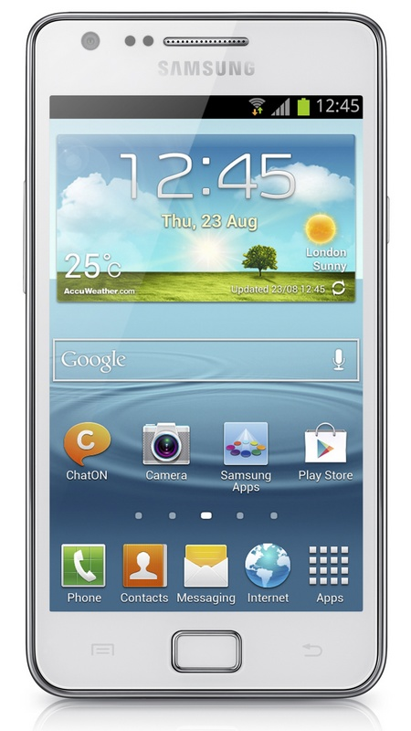 Samsung Galaxy S II Plus runs Android 4.1.2 Jelly Bean white