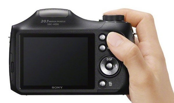 Sony Cyber-shot DSC-H200 Camera with 26x Optical Zoom on hand