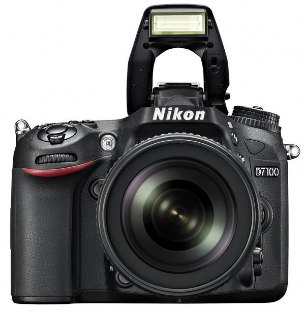 Nikon D7100 DX-Format DSLR front flash open