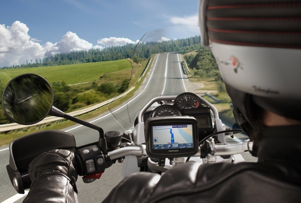 TomTom Rider Navigation Device for Bikers in use