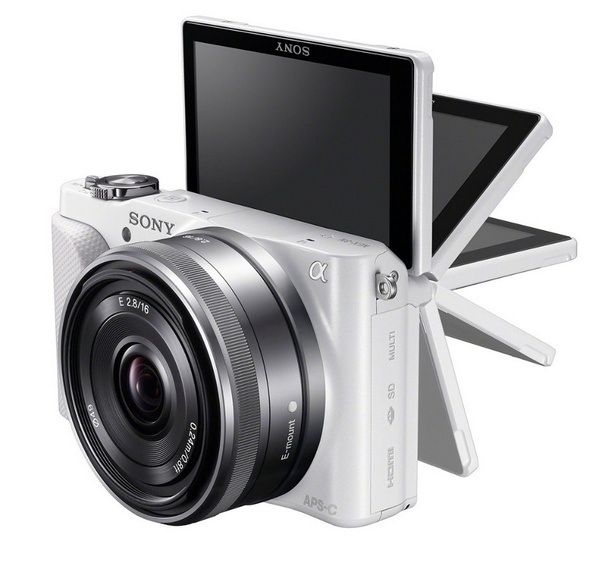 Sony Alpha NEX-3N Mirrorless Camera flipping screen