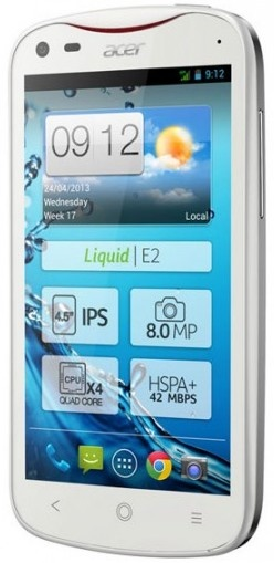 Acer Liquid E2 Quad-core Smartphone, Optional Dual-SIM white