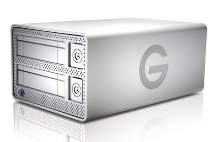 G-Technology G-DOCK ev with Thunderbolt hard drive dock angle