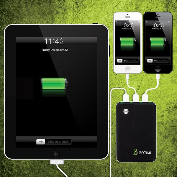 Lenmar Helix 11,000mAh Portable Battery with 3 USB Ports in use