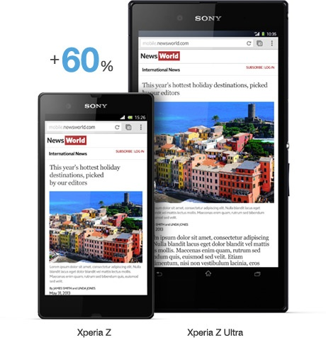 Sony Xperia Z Ultra 6.4-inch Full HD phablet compare to Z