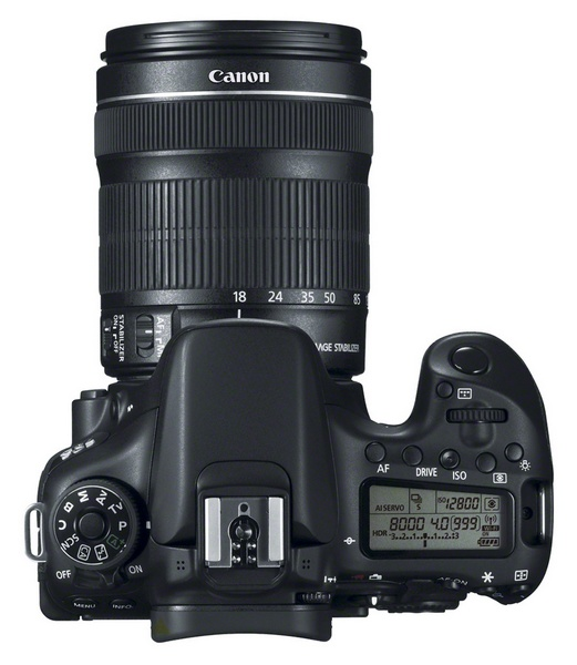 Canon EOS 70D DSLR with Dual Pixel CMOS AF top