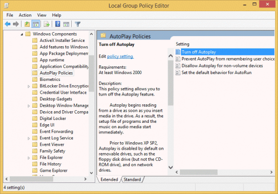 Autoplay group policy