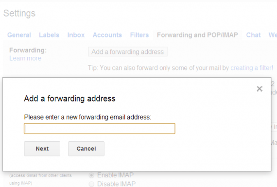 set up forwarding in gmail