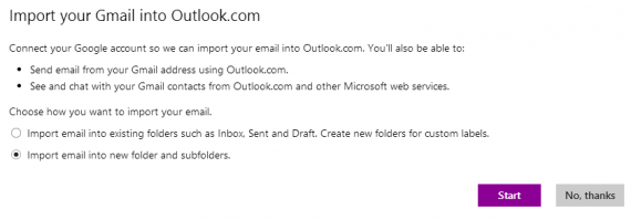 import gmail in outlook