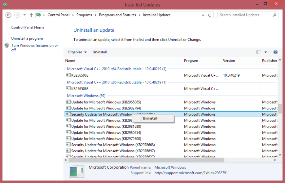 Uninstalling Windows 8.1 Update 2